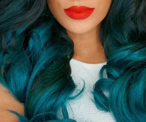 hair, blue, and lips image