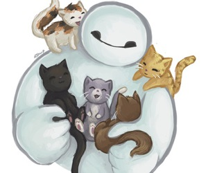 baymax, cats, and disney image
