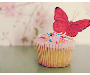 cupcake, butterfly, and cute image