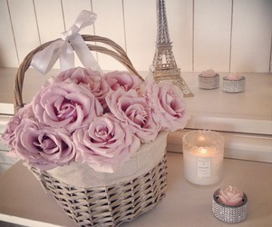 flowers, candles, and paris image