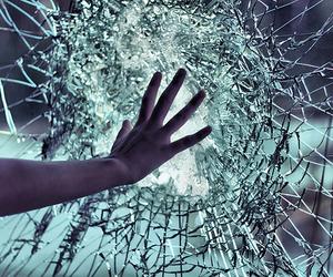 glass, hand, and broken image