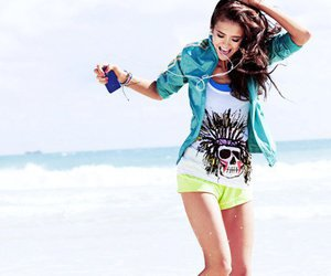 girl, Nina Dobrev, and beach image