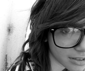 black and white, girl, and glasses image