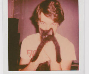 boy, cat, and hipster image