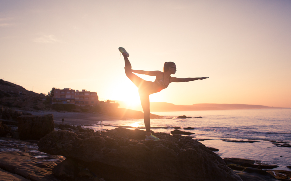 beach, fitness, and sunset image