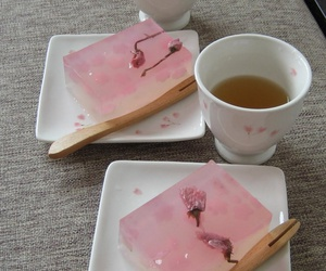 japanese sweets, pink, and sakura jelly image