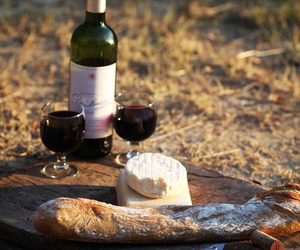 cheese, wine, and bread image