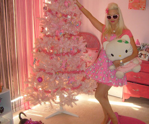 pink, christmas, and hello kitty image