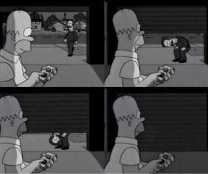 homer, simpsons, and black and white image