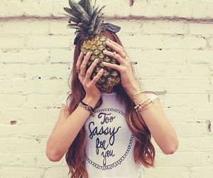 girl, pineapple, and hipster image