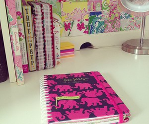 pink, notebook, and book image
