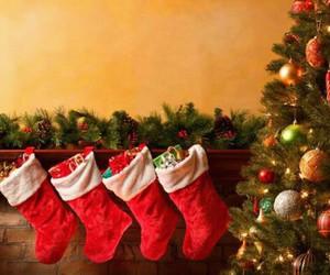 christmas, socks, and red image