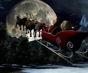 christmas, moon, and santa image