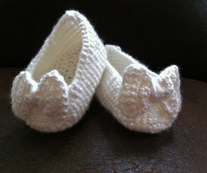 baby shoes, white mary janes, and white crochet baby shoes image