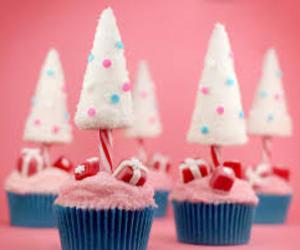 cupcakes, xmas tree, and christmas. image