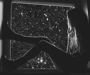 girl, stars, and night image