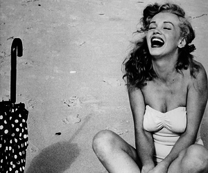 black and white, Marilyn Monroe, and summer image