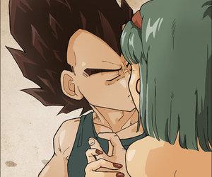 amor bulma vegeta beso