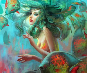 mermaid, fish, and art image
