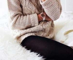 cozy, gold watch, and brown sweater image