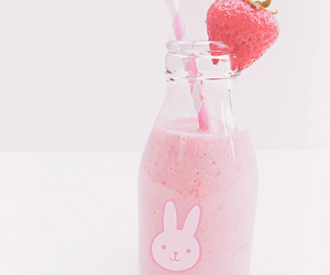pink, strawberry, and drink image