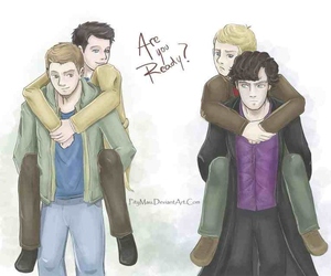 destiel, brb crying, and johnlock image
