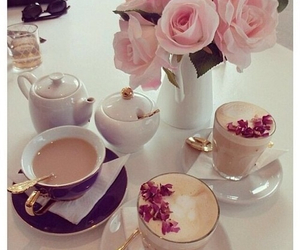 afternoon tea, tea time, and flowers image