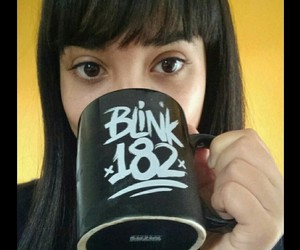 blink-182, coffee, and girl image