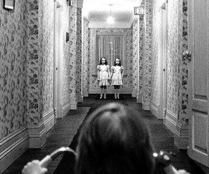 horror, black and white, and The Shining image