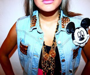 fashion, studs, and mickey mouse image