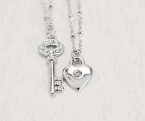 bridesmaid, heart jewelry, and friendship necklaces image