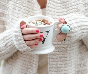winter, sweater, and coffee image