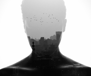 black and white, city, and boy image