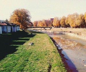 autumn, river, and city image