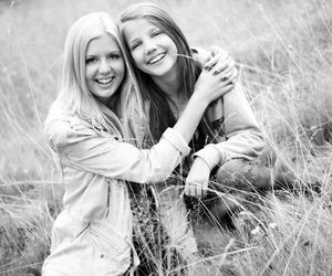 black and white, blond, and girls image