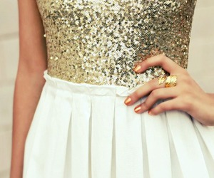 fashion, girl, and gold image
