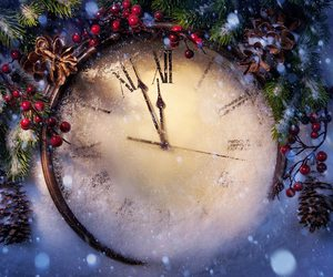 snow, clock, and new year image