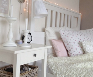 bedroom, white, and pillow image