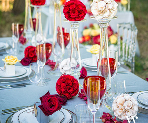red, wedding, and white image