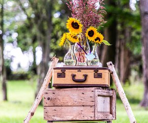 ceremony, crates, and flowers image