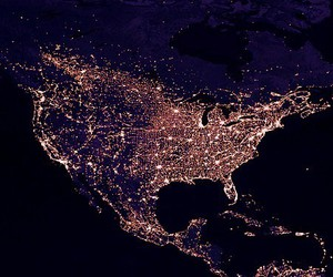 cities, lights, and north america image