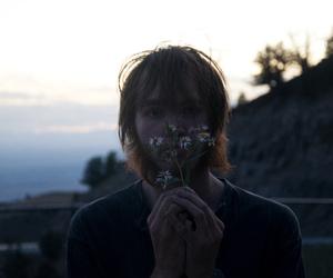 beard, dusk, and flowers image