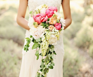 bride, dress, and flowers image