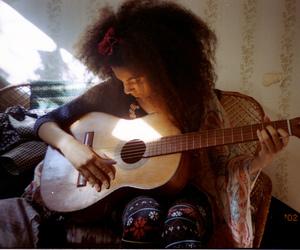 girl, guitar, and hair image