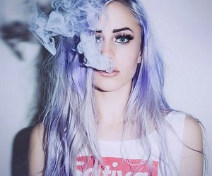 smoke, girl, and hair image