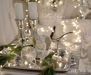 angel, silver, and candles image