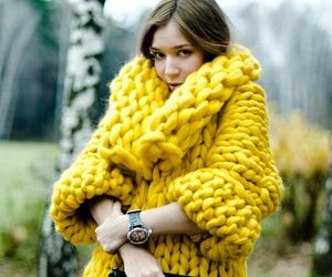 coat, yellow, and winter image