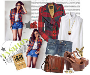 Collage, plaids, and Polyvore image