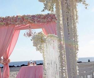 pink, wedding, and beach image
