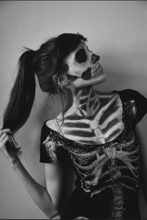 art, girl, and skull image